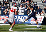 October 22, 2011:   Nevada Wolf Pack receiver Shane Anderson makes the catch at the sidelines as Fresno State Bulldogs Zak Hill trails the play during a WAC league game played at Mackay Stadium in Reno, Nevada.