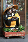 "February 14, 2013, Kawagoe, Japan - A statue of raccoon at the entrance of traditional Japanese store at Little Edo, Kawagoe. An old town from Edo Period (1603-1867) is located in Kawagoe, 30 minutes by train from central Tokyo. In the past Kawagoe was an important city for trade and strategic purpose, the shogun installed some of their most important loyal men as lords of Kawagoe Castle. Every year ""Kawagoe Festival"" is held in the third weekend of October, people pull portable shrine during the parade, later ""dashi"" floats on the streets nearby. The festival started 360 years ago supported by Nobutsuna Matsudaira, lord of Kawagoe Castle. (Photo by Rodrigo Reyes Marin/AFLO).."