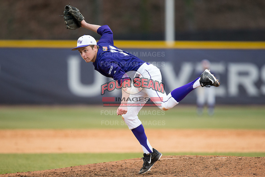 High Point Panthers relief pitcher Jeremy Johnson (14) follows through on his delivery against the UNCG Spartans at Willard Stadium on February 14, 2015 in High Point, North Carolina.  The Panthers defeated the Spartans 12-2.  (Brian Westerholt/Four Seam Images)