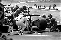 BROOKLYN, MI - SEPTEMBER 22: Mario Andretti makes a pit stop in the Newman Haas Racing Lola T900/Cosworth during the Detroit News 200 CART Indy Car race at the Michigan International Speedway near Brooklyn, Michigan, on September 22, 1985.