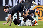 Real Salt Lake midfielder Kyle Beckerman (5) tries to get over Colorado Rapids forward Dominique Badji (14) in the first half Saturday, April 21, 2018, during the Major League Soccer game at Rio Tiinto Stadium in Sandy, Utah. RSL beat the Colorado Rapids 3-0. (© 2018 Douglas C. Pizac)