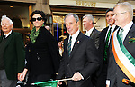 New York City Mayor Michael Bloomberg (center) marching with Diana Taylor (L) and Commissioner of Sanitation John J. Doherty (R) on the streets of Manhattan for the annual St. Patrick's Day Parade in New York City on March 17, 2011.