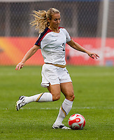 USWNT defender (2) Heather Mitts punts the ball forward while playing at Qinhuangdao Stadium. The US defeated Japan, 1-0, during first round play at the 2008 Beijing Olympics in Qinhuangdao, China.