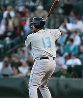 2007:  Sal Fasano of the Syracuse Chiefs awaits on deck before an at bat vs. the Rochester Red Wings in International League baseball action.  Photo By Mike Janes/Four Seam Images