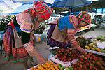 Hmong tribe women shopping at Muong Hum market, Vietnam.