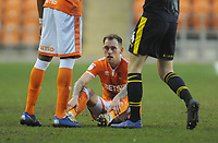 Blackpool's Harry Pritchard looks dejected after the final whistle<br /> <br /> Photographer Kevin Barnes/CameraSport<br /> <br /> The EFL Sky Bet League One - Blackpool v Oxford United - Saturday 23rd February 2019 - Bloomfield Road - Blackpool<br /> <br /> World Copyright © 2019 CameraSport. All rights reserved. 43 Linden Ave. Countesthorpe. Leicester. England. LE8 5PG - Tel: +44 (0) 116 277 4147 - admin@camerasport.com - www.camerasport.com