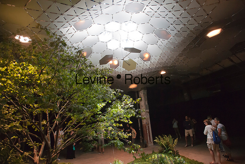 """""""Imagining the Lowline"""" exhibit seen at the old Essex Street Market in the Lower East Side neighborhood in New York on Saturday, September 15, 2012. The plans call to transform an underground trolley terminal into a green space using sunlight filtered through skylights to create a subterranean park. In the exhibit reflective hexagons and optic pipes direct the sun's rays to the landscape below. (© Richard B. Levine)"""