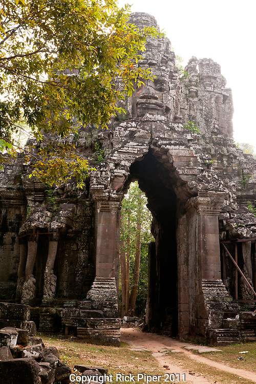 Angkor Thom East Gate from the western side, Cambodia