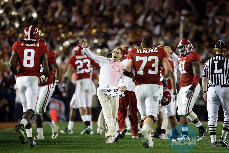 07 JAN 2010:  Head Coach Nick Saban of the University of Alabama celebrates with his team during the closing minutes of their victory over the University of Texas during the BCS National Championship held at the Rose Bowl in Pasadena, CA.  Alabama defeated Texas 37-21 for the national title.  Jamie Schwaberow/NCAA Photos