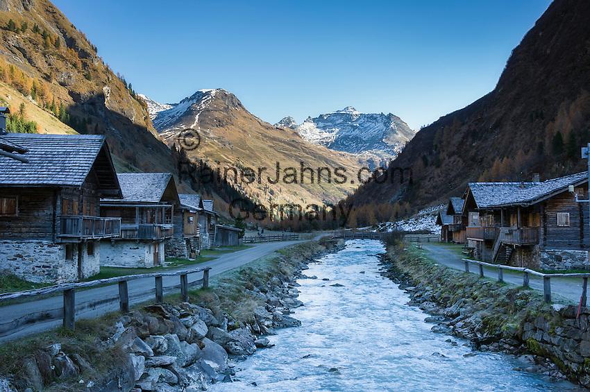 Austria, East-Tyrol, Gschloess Valley near Matrei: mountain torrent Gschloessbach at Innergschloess and High Tauern mountains | Oesterreich, Osttirol, das Gschloesstal bei Matrei: der Gschloessbach bei Innergschloess und Hohe Tauern