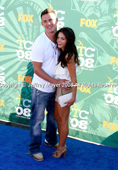 Actors Channing Tatum and Jenna Dewan arrive at the 2008 Teen Choice Awards at the Gibson Amphitheater on August 3, 2008 in Universal City, California.