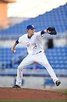 Dunedin Blue Jays pitcher Ajay Meyer (9) delivers a pitch during a game against the Daytona Cubs on April 16, 2014 at Florida Auto Exchange Stadium in Dunedin, Florida.  Dunedin defeated Daytona 5-1.  (Mike Janes/Four Seam Images)