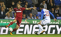 Angel Rangel of Swansea City is marked by Pelle Clement of Reading during the Carabao Cup Third Round match between Reading and Swansea City at Madejski Stadium, Reading, England, UK. Tuesday 19 September 2017