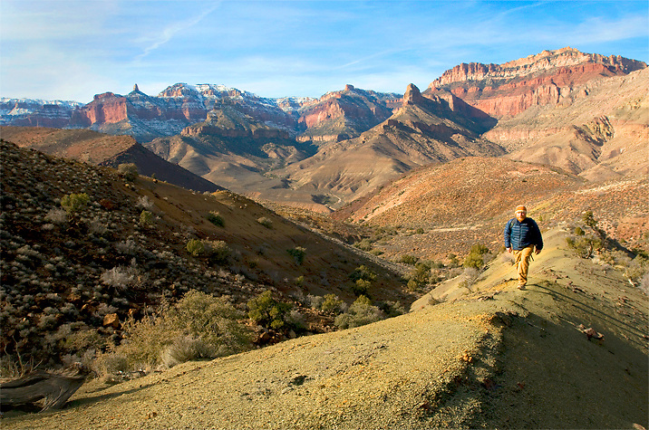 Pete climbs a shaley ridgeline on a route between Nankoweap and Kwagunt canyons. Grand Canyon National Park, AZ.