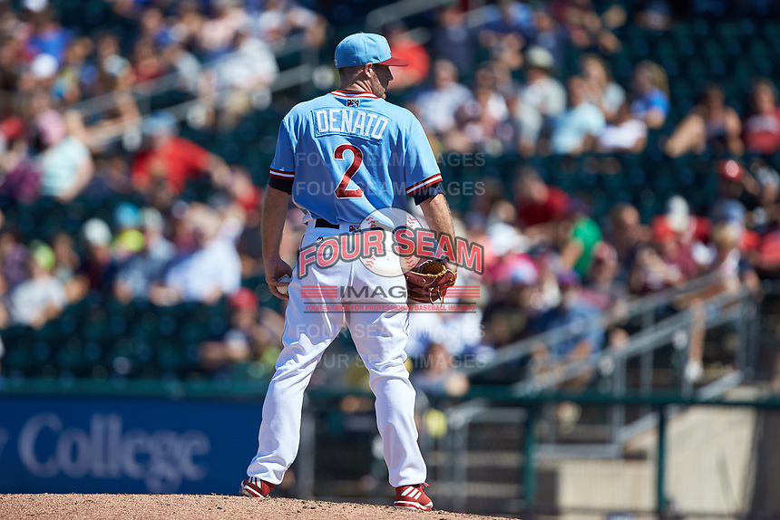 Lehigh Valley Iron Pigs relief pitcher Joey DeNato (2) looks to his catcher for the sign against the Durham Bulls at Coca-Cola Park on July 30, 2017 in Allentown, Pennsylvania.  The Bulls defeated the IronPigs 8-2.  (Brian Westerholt/Four Seam Images)