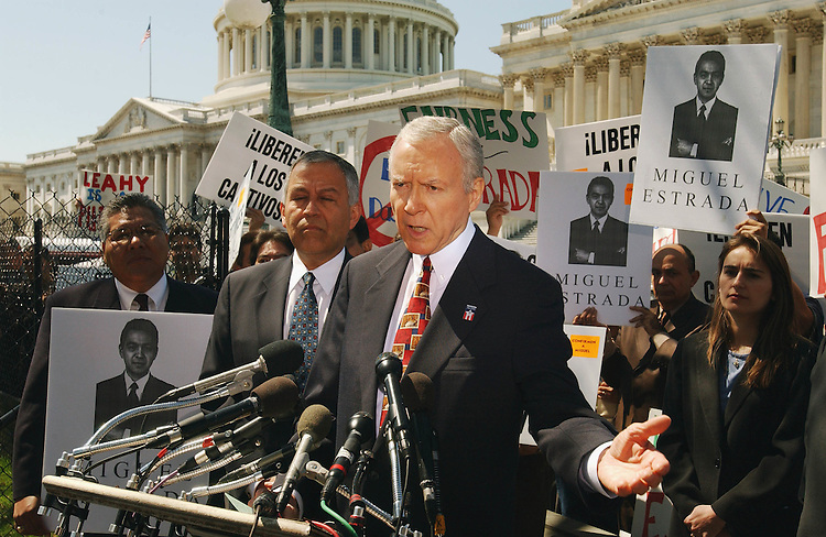4/10/02.MIGUEL ESTRADA NOMINATION--Senate Judiciary ranking Republican Orrin G. Hatch, R-Utah, speaking, and Henry Bonilla, R-Texas, left of Hatch, during a news conference with the Latino Coalition on the nomination of Miguel Estrada to be a federal circuit court judge..CONGRESSIONAL QUARTERLY PHOTO BY SCOTT J. FERRELL