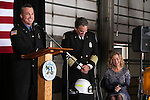 Capt. Scott Baker speaks at Carson City Fire Chief Bob Schreihans' badge-pinning ceremony at Station 51 in Carson City, Nev., on Tuesday, Feb. 3, 2015. Nancy Schreihans is at right.<br /> Photo by Cathleen Allison