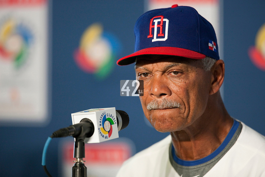 7 March 2009: Team manager of the Dominican Republic Felipe Alou answers journalist during a press conference after the game during the 2009 World Baseball Classic Pool D match at Hiram Bithorn Stadium in San Juan, Puerto Rico. Netherlands pulled off a huge upset in their World Baseball Classic opener with a 3-2 victory over Dominican Republic.
