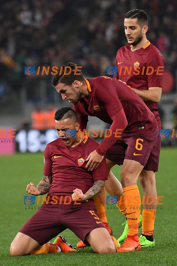 Esultanza gol Leandro Paredes Roma Goal celebration 1-1 with Kevin Strootman, Kostas Manolas <br /> Roma 19-03-2017 Stadio Olimpico Football Calcio Serie A 2016/2017 AS Roma - Sassuolo Foto Andrea Staccioli / Insidefoto