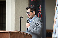 """Congressman Jimmy Gomez (CA-34) speaks.<br /> Upward Bound hosts their annual """"End of the Year"""" celebration with participants and their families on May 12, 2018 in the courtyard of Booth Hall. Jimmy Gomez, U.S. Representative for California's 34th congressional district, was the featured speaker at the event.<br /> Upward Bound was established at Occidental College in 1966 and has since served over 2000 first generation, low income students in the Los Angeles region.<br /> (Photo by Marc Campos, Occidental College Photographer)"""