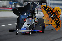 May 13, 2011; Commerce, GA, USA: NHRA top fuel dragster driver Pat Dakin during qualifying for the Southern Nationals at Atlanta Dragway. Mandatory Credit: Mark J. Rebilas-