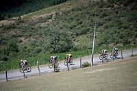 yellow jersey / GC leader Giulio Ciccone (ITA/Trek-Segafredo) amongst teammates<br /> <br /> Stage 8: Mâcon to Saint-Étienne(200km)<br /> 106th Tour de France 2019 (2.UWT)<br /> <br /> ©kramon