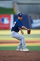 AZL Brewers Blue relief pitcher Ian Exposito (25) during an Arizona League game against the AZL Brewers Gold on July 13, 2019 at American Family Fields of Phoenix in Phoenix, Arizona. The AZL Brewers Blue defeated the AZL Brewers Gold 6-0. (Zachary Lucy/Four Seam Images)