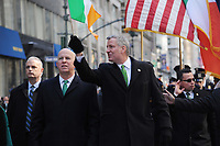 www.acepixs.com<br /> March 17, 2017  New York City<br /> <br /> Police Commissioner Patrick O'Neil and Mayor Bill de Blasio at the St Patrick's Day Parade on March 17, 2017 in New York City.<br /> <br /> Credit: Kristin Callahan/ACE Pictures<br /> <br /> <br /> Tel: 646 769 0430<br /> Email: info@acepixs.com