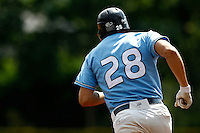 14 July 2011: Jeff Lundell of Senart Templiers runs the bases after his homerun during the 2011 Challenge de France match won 12-9 by the Senart Templiers over Pessac Pantheres, at Stade Pierre Rolland, in Rouen, France.