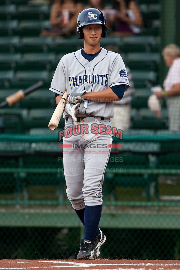 Shortstop Hak-Ju Lee #3 of the Charlotte Stone Crabs during a game against the Daytona Beach Cubs at Jackie Robinson Ballpark on July 8, 2011 in Daytona Beach, Florida. (Scott Jontes / Four Seam Images)