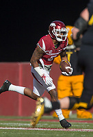 Hawgs Illustrated/BEN GOFF <br /> Henre' Toliver, Arkansas cornerback, returns the ball for 28 yards after intercepting a Missouri pass in the first quarter Friday, Nov. 24, 2017, at Reynolds Razorback Stadium in Fayetteville.
