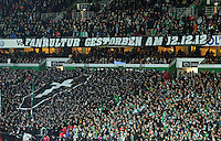 FUSSBALL   1. BUNDESLIGA    SAISON 2012/2013    17. Spieltag   SV Werder Bremen - 1. FC Nuernberg                     16.12.2012 Bremer Fans praesentieren ein Banner mit der Aufschrift  FANKULTUR GESTORBEN AM 12.12.12