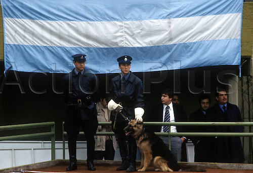 02.06.1978  Argentinian Police guarding the grounds at the Estadio Antonio Liberti Monumental de River Plate which will be used in 1 week for the 1978 world cup finals