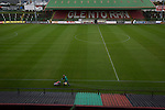 Glentoran 2 Cliftonville 1, 22/10/2016. The Oval, NIFL Premiership. The club's groundsman lining the pitch at The Oval, Belfast, pictured before Glentoran hosted city-rivals Cliftonville in an NIFL Premiership match. Glentoran, formed in 1892, have been based at The Oval since their formation and are historically one of Northern Ireland's 'big two' football clubs. They had an unprecendentally bad start to the 2016-17 league campaign, but came from behind to win this fixture 2-1, watched by a crowd of 1872. Photo by Colin McPherson.