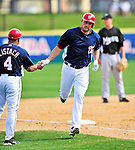 8 March 2010: Washington Nationals' third baseman Ryan Zimmerman rounds third and heads for home after hitting a home run during a Spring Training game against the Florida Marlins at Space Coast Stadium in Viera, Florida. The Marlins defeated the Nationals 12-2 in Grapefruit League action. Mandatory Credit: Ed Wolfstein Photo