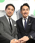 April 27, 2017, Tokyo, Japan - Japan's SNS giant LINE president Takeshi Idezawa (R) shakes hands with Toru Asada, chairman of Mitsukoshi Isetan Transit, a subsidiary of Mitsukoshi Isetan Holdings as they will open a pop-up cafe and character goods shop featuring LINE's famous characters in Tokyo on Thursday, April 27, 2017. The Shinjuku Box, run by Mitsukoshi Isetan Transit, will open cafes of Taiwan's ice dessert shop Ice Monster and US chocolate shop Max Brenner using LINE characters and LINE's character goods shop from April 28 near Shinjuku station.   (Photo by Yoshio Tsunoda/AFLO) LwX -ytd-
