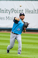 Colorado Springs Sky Sox pitcher Bubba Derby (11) warms up in the outfield prior to a Pacific Coast League game against the Iowa Cubs on June 23, 2018 at Principal Park in Des Moines, Iowa. Colorado Springs defeated Iowa 4-2. (Brad Krause/Four Seam Images)
