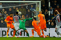 3rd March 2020; The Hawthorns, West Bromwich, West Midlands, England; English FA Cup Football, West Bromwich Albion versus Newcastle United; Karl Darlow of Newcastle United unsuccessfully attempts to block a shot from Matt Phillips of West Bromwich Albion for West Bromwich Albion's first goal (1-3)