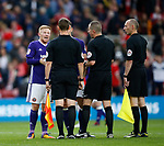 Mark Duffy of Sheffield Utd takes issue with the linesman that disallowed the equalising goal during the Championship match at the Riverside Stadium, Middlesbrough. Picture date: August 12th 2017. Picture credit should read: Simon Bellis/Sportimage