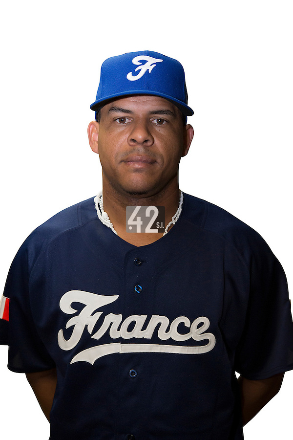 18 September 2012: Ernesto Martinez poses prior to Team France practice, at the 2012 World Baseball Classic Qualifier round, in Jupiter, Florida, USA.