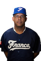 18 September 2012: Ernesto Martinez poses prior to Team France practice, at the 2012 World Baseball Classic Qualifier round, in Jupiter, Florida, USA.