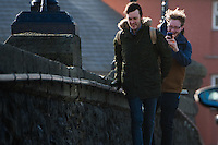 Aberystwyth Wales UK, Thursday 23 Feb 2017<br /> As the  winds from Storm Doris strengthen, pedestrians struggle to walk on the streets of Aberystwyth this morning. <br /> Violent Storm Force 11 winds, with gusts of  of up to 90mph are forecast for parts of North Wales and NorthWest England, with the risk of damage to property and severe disruption to travel<br /> Storm Doris is the fourth named storm of the winter , and has been classified as a &lsquo;weather bomb&rsquo; (explosive cyclogenesis) by the Met Office<br /> <br /> Photo &copy; Keith Morris