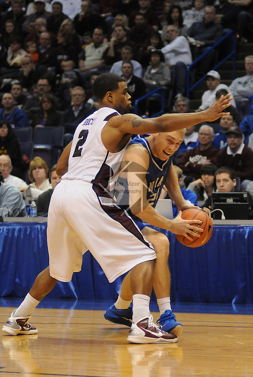 March 5,  2011        Missouri State Bears guard Nafis Ricks (2) guards Indiana State Sycamores guard Jordan Printy (24) in the second half.  Indiana State defeated MIssouri State 60-56 in the championship game of the NCAA Missouri Valley Conference Men's Basketball Tournament on Sunday March 6, 2011 at the Scottrade Center in downtown St. Louis.  They received an automatic bid to the NCAA Basketball Tournament