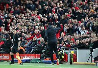 27th October 2019; Anfield, Liverpool, Merseyside, England; English Premier League Football, Liverpool versus Tottenham Hotspur; Liverpool manager Jurgen Klopp turns and gives a clenched fist salute towards fans in the main stand after Jordan Henderson's equalising goal - Strictly Editorial Use Only. No use with unauthorized audio, video, data, fixture lists, club/league logos or 'live' services. Online in-match use limited to 120 images, no video emulation. No use in betting, games or single club/league/player publications