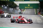 31.08.2018, Autodromo di Monza, Monza, FORMULA 1 GRAN PREMIO HEINEKEN D'ITALIA 2018<br />,im Bild<br />Sebastian Vettel (GER#5), Scuderia Ferrari, Charles Leclerc (MCO#16), Alfa Romeo Sauber F1 Team<br /> <br /> Foto &copy; nordphoto / Bratic