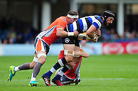 Luke Charteris of Bath Rugby is double-tackled. Aviva Premiership match, between Bath Rugby and Newcastle Falcons on September 10, 2016 at the Recreation Ground in Bath, England. Photo by: Patrick Khachfe / Onside Images