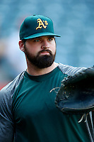 Derek Norris #36 of the Oakland Athletics before a game against the Los Angeles Angels at Angel Stadium on September 10, 2012 in Anaheim, California. Oakland defeated Los Angeles 3-1. (Larry Goren/Four Seam Images)