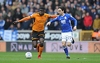 Wolverhampton Wanderers' Alfred N'Diaye battles with Birmingham City's Jota<br /> <br /> Photographer Ashley Crowden/CameraSport<br /> <br /> The EFL Sky Bet Championship - Wolverhampton Wanderers v Birmingham City - Sunday 15th April 2018 - Molineux - Wolverhampton<br /> <br /> World Copyright &copy; 2018 CameraSport. All rights reserved. 43 Linden Ave. Countesthorpe. Leicester. England. LE8 5PG - Tel: +44 (0) 116 277 4147 - admin@camerasport.com - www.camerasport.com