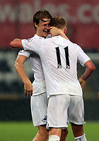 Pictured: (L-R) George Byers of Swansea City  celebrates Adam King's second goal Monday 15 May 2017<br /> Re: Premier League Cup Final, Swansea City FC U23 v Reading U23 at the Liberty Stadium, Wales, UK
