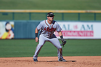 Peoria Javelinas third baseman Austin Riley (15), of the Atlanta Braves organization, during an Arizona Fall League game against the Mesa Solar Sox on October 25, 2017 at Sloan Park in Mesa, Arizona. The Solar Sox defeated the Javelinas 6-3. (Zachary Lucy/Four Seam Images)